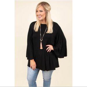 Chic Soul Black Batwing Sleeve Tunic